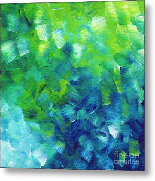Abstract Art Original Textured Soothing Painting Sea Of Whimsy I By Madart Metal Print