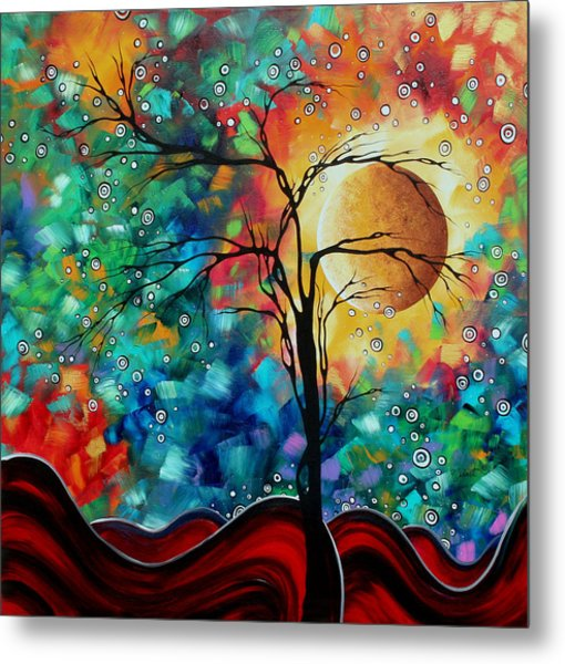 Abstract Art Original Whimsical Modern Landscape Painting Bursting Forth By Madart Metal Print