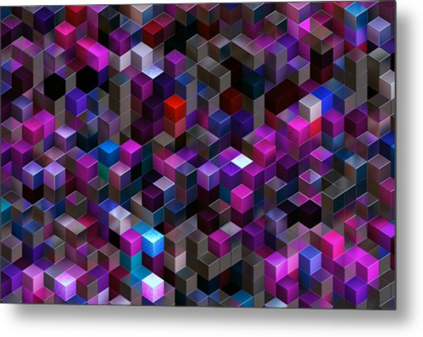 Abstract Background Of Multi-colored Cubes Metal Print by Oxygen