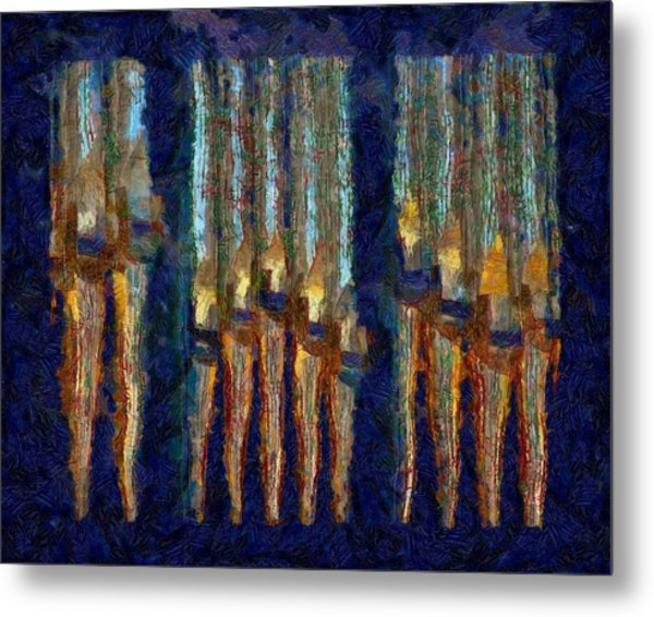 Abstract Blue And Gold Organ Pipes Metal Print