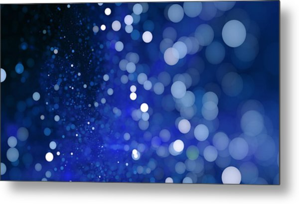Abstract Blue Bokeh Sparkling Spray Circle Metal Print by Oxygen