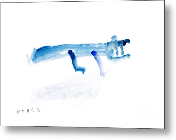 Abstract Blue Crocodile Art Print Watercolor Painting Metal Print