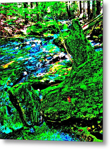 Abstract Brook Bits 56 Metal Print