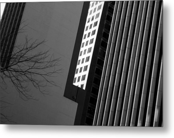 Abstract Building Patterns Black White Metal Print