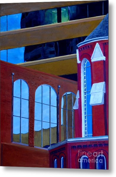 Abstract City Downtown Shreveport Louisiana Urban Buildings And Church Metal Print by Lenora  De Lude