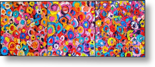 Abstract Colorful Flowers Triptych  Metal Print