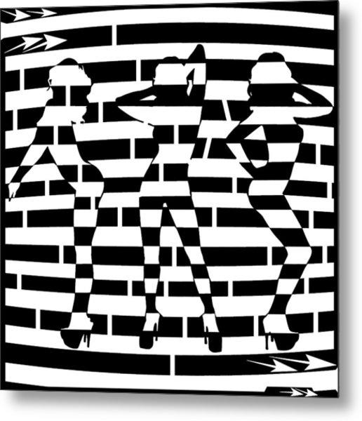 Abstract Distortion Dancin Girls Maze  Metal Print by Yonatan Frimer Maze Artist