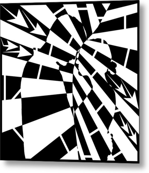 Abstract Distortion Human Touch Maze  Metal Print by Yonatan Frimer Maze Artist