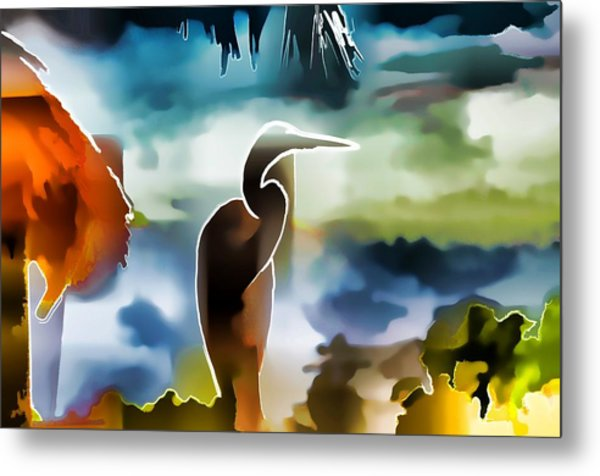 Abstract Egret Profile Metal Print