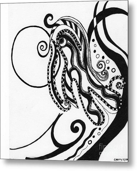 Abstract Figure In Black Metal Print