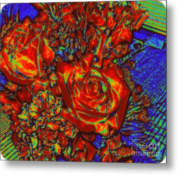 Abstract Flowers Compliments Metal Print
