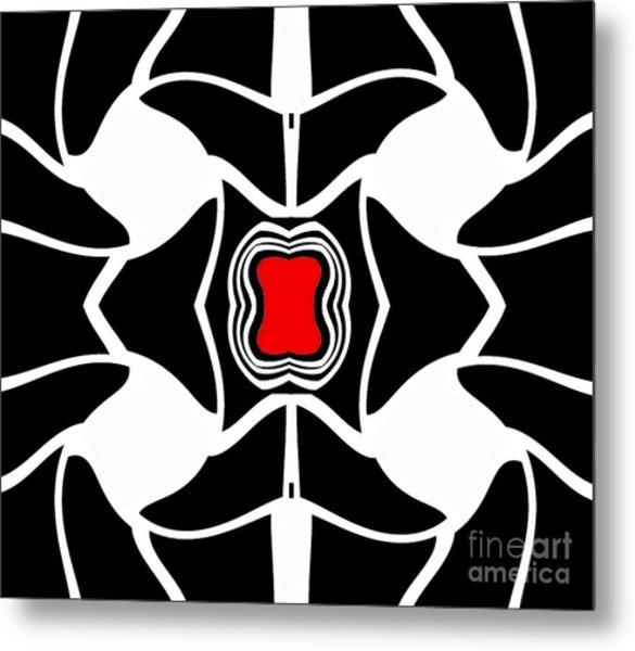 Abstract Geometric Black White Red Art No.381. Metal Print by Drinka Mercep