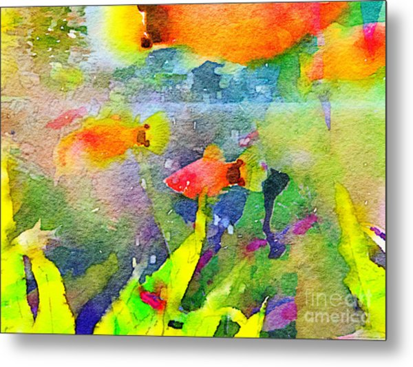 Abstract Goldfish Fish Bowl Aquarium Watercolor 1 Metal Print