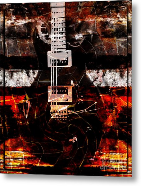 Abstract Guitar Into Metal Metal Print