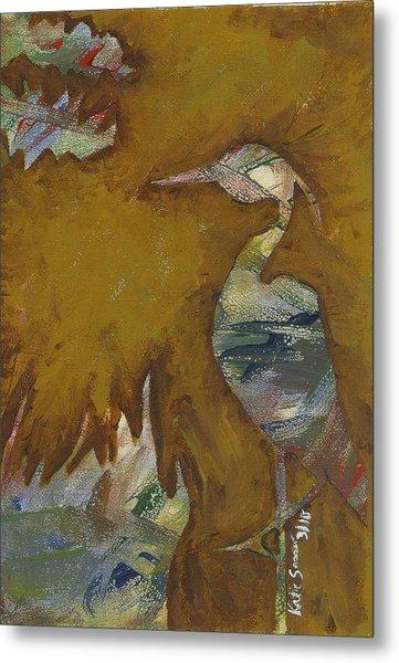 Abstract Heron Metal Print