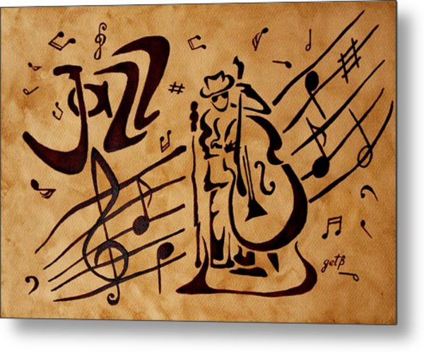 Abstract Jazz Music Coffee Painting Metal Print