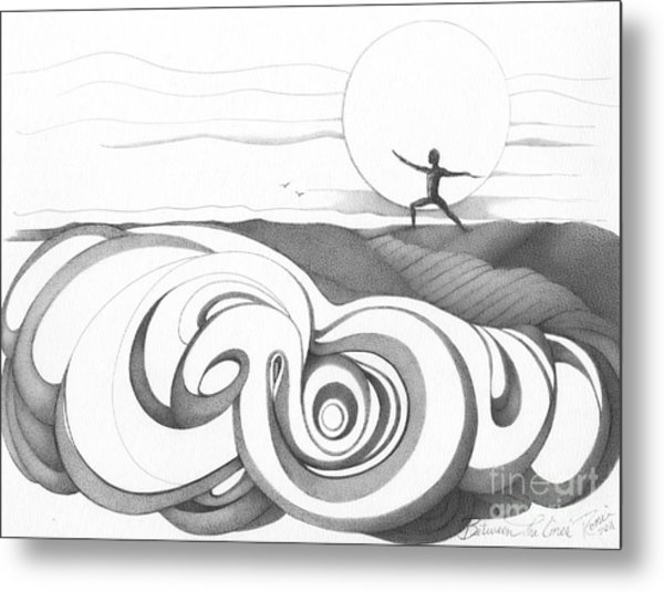 Abstract Landscape Art Black And White Yoga Zen Pose Between The Lines By Romi Metal Print