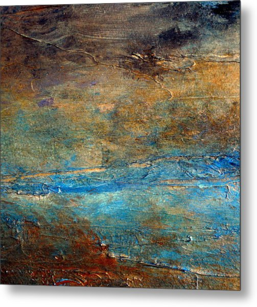Rustic Abstract Landscape Painting Metal Print