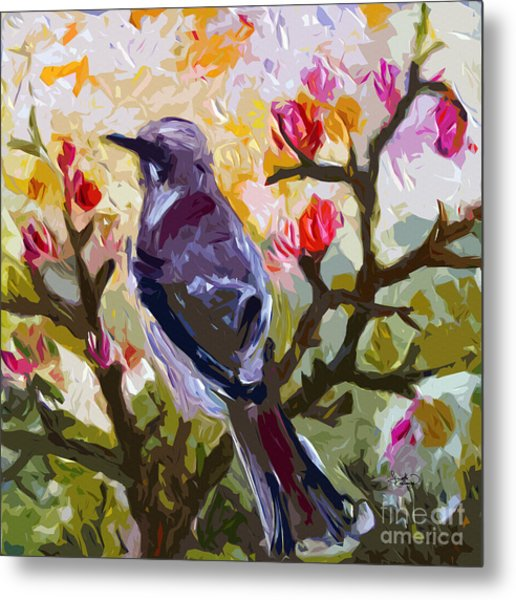 Abstract Mockingbird In Spring  Metal Print