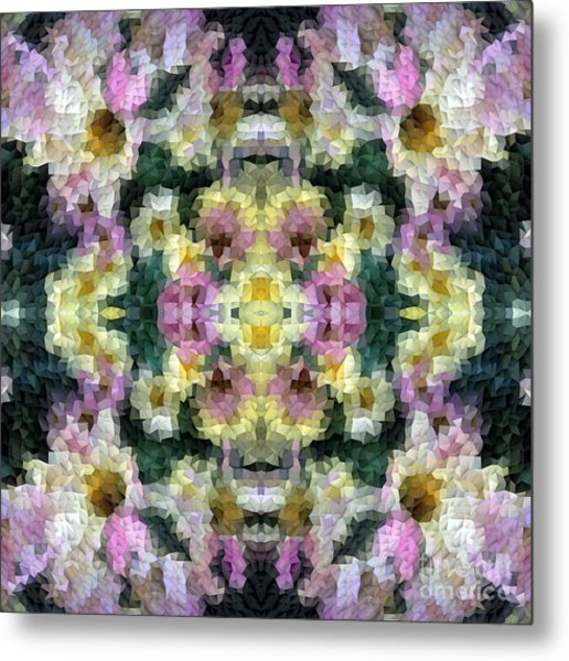 Abstract Mosaic In Yellow Pink Green Metal Print