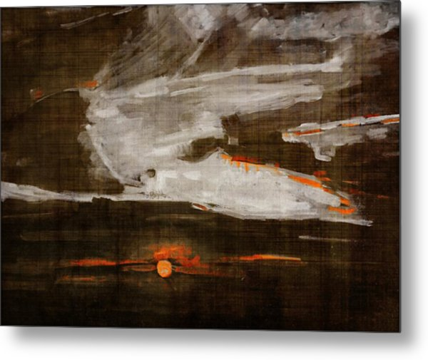 Abstract Motion Behind The Sunset Clouds Metal Print