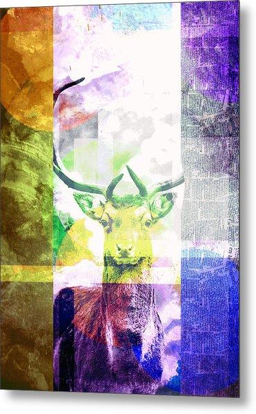 Abstract Nature Deer Portrait Metal Print