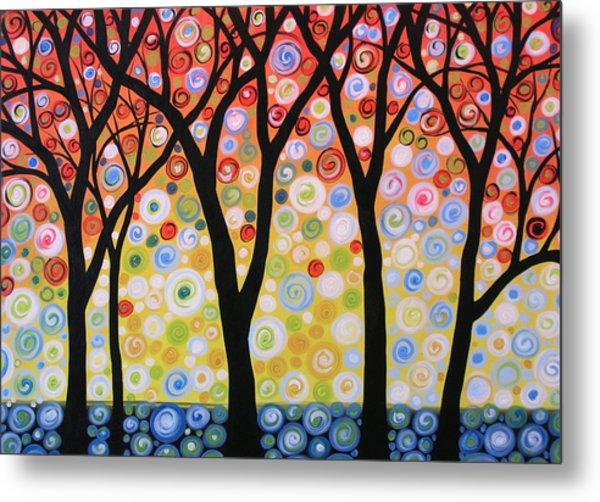 Abstract Original Modern Trees Landscape Print Painting ... Joyous Sky Metal Print