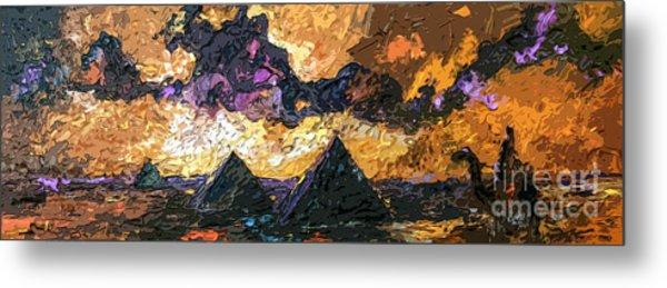 Abstract Panoramic Egypt And Pyramids Desert Sun Metal Print