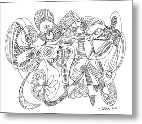 Abstract Pen Drawing Thirty-eight Metal Print