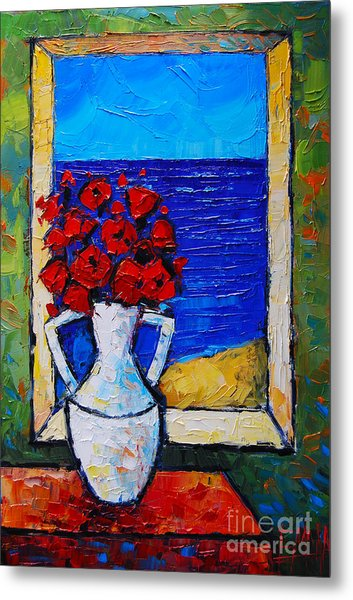 Abstract Poppies By The Sea Metal Print