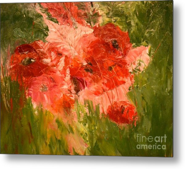 Abstract Poppies Metal Print