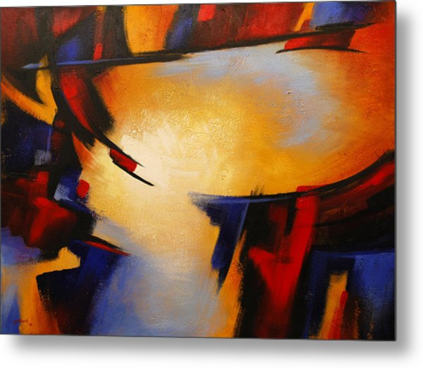 Abstract Red Blue Yellow Metal Print