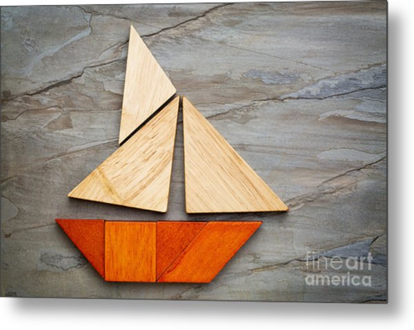 Abstract Sailboat From Tangram Puzzle Metal Print