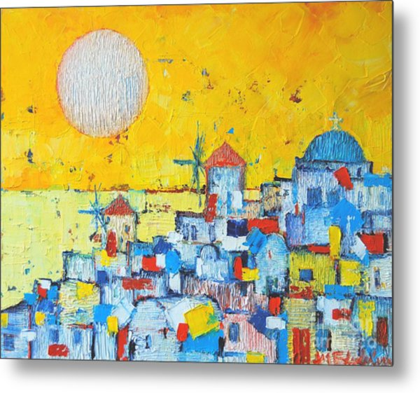 Abstract Santorini - Oia Before Sunset Metal Print
