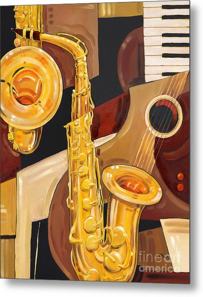 Abstract Saxophone Metal Print by Paul Brent