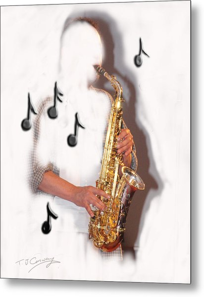 Abstract Saxophone Player Metal Print