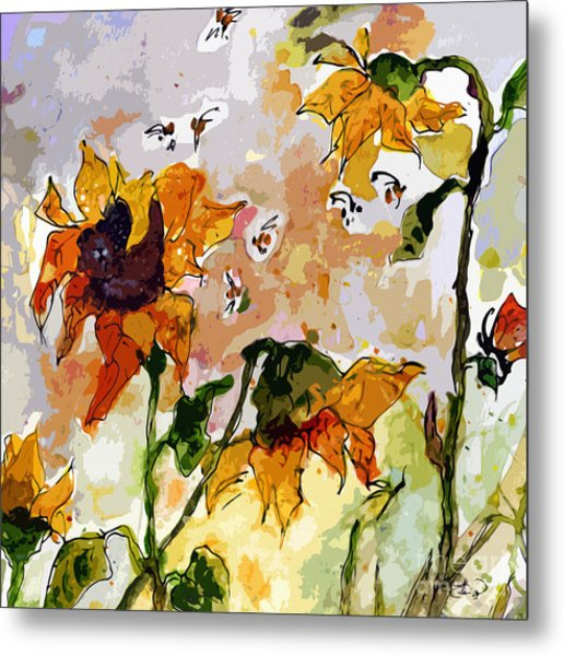 Abstract Sunflowers And Bees Provence Metal Print