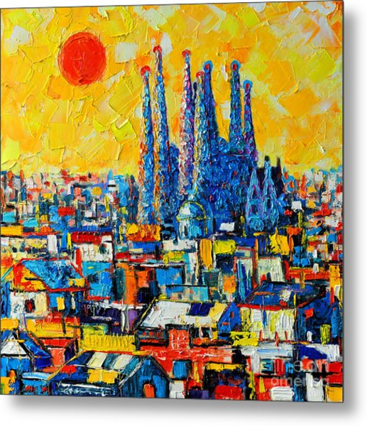 Abstract Sunset Over Sagrada Familia In Barcelona Metal Print