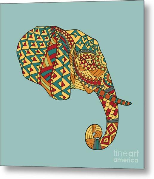 Abstract Vector Image Of An Elephants Metal Print