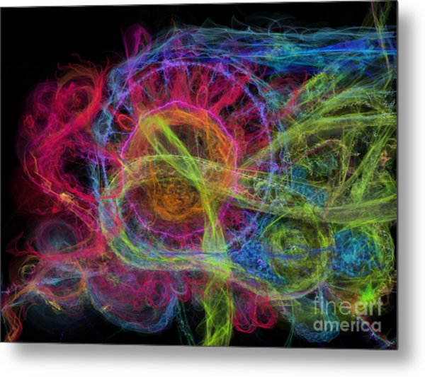 Metal Print featuring the digital art Abstract Virus Budding Painterly 1 by Russell Kightley