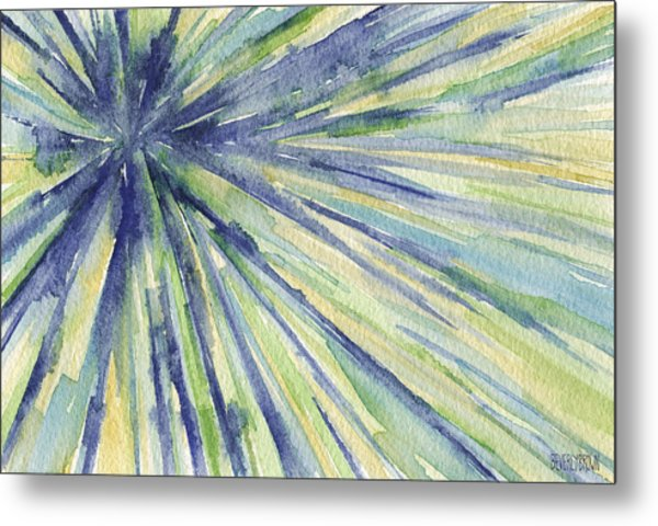 Abstract Watercolor Painting - Blue Yellow Green Starburst Pat Metal Print