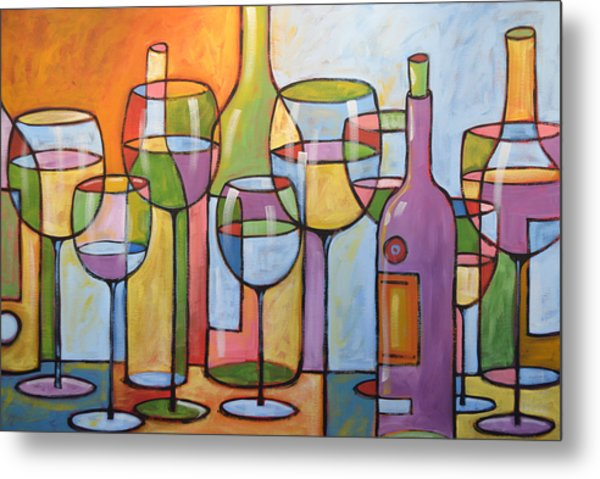 Abstract Wine Dining Room Bar Kitchen Art ... Time To Relax Metal Print