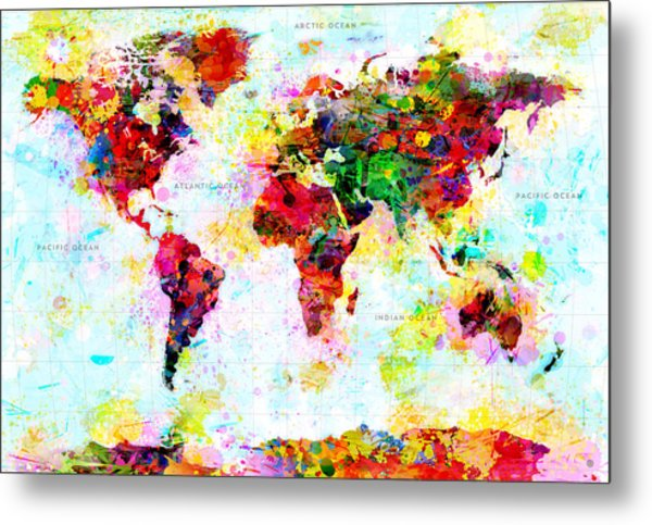 Abstract World Map Metal Print