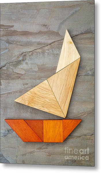 Abstract Yacht From Tangram Puzzle Metal Print