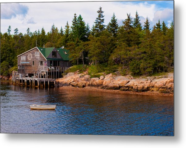 Acadia Fishing Village Metal Print