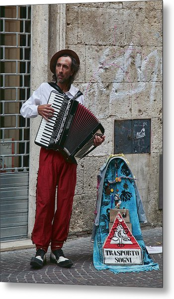 Accordian Player Metal Print