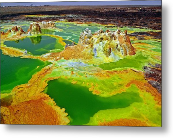 Acid Lakes Of Dallol Volcano Metal Print by Liudmila Di