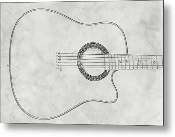 Acoustic Guitar On White Sketch Metal Print by Randy Steele