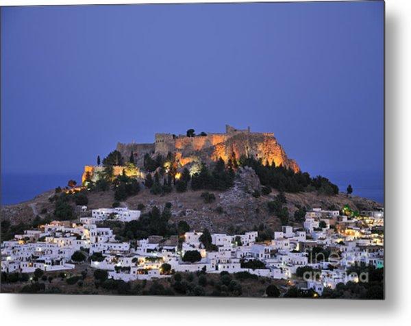 Acropolis And Village Of Lindos During Dusk Time Metal Print