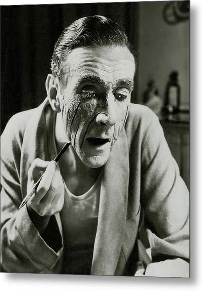 Actor Clifton Webb Applying Make-up Metal Print by Lusha Nelson